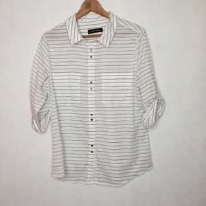 Ivanka Trump Large Striped Button Down Blouse Top
